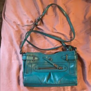 Simply Vera Vera Wang teal shoulder bag wear strap